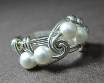 Pearl Fibonacci Ring Wire Wrapped Ring Sterling Silver and White Swarovski Glass Pearl Fibonacci -- 28 Colors Available