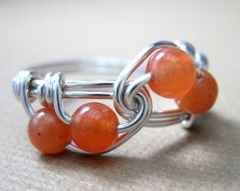 Math Jewelry  Orange Wire Wrapped Ring Peach Aventurine and Sterling Silver Fibonacci Math Ring