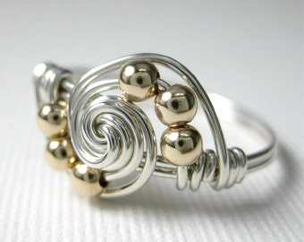 Mixed Metals Wire Wrapped Gravitation Ring -- Sterling Silver and 14k Gold-Filled