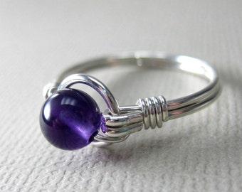 Amethyst Ring Sterling Silver Wire Wrapped O Loop