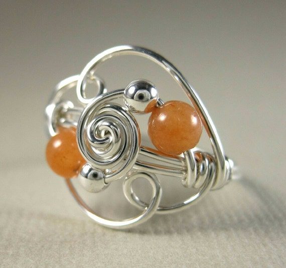 Wire Wrapped Ring Orange Jewelry Sterling Silver and Peach Aventurine Duality -- Any Size
