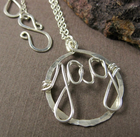 Personalized Custom Wire Wrapped Monogram Necklace Sterling Silver with Three Initials