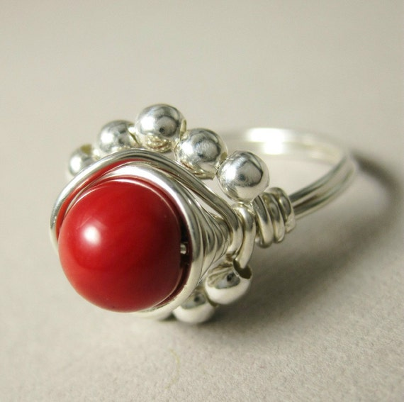 Bamboo Coral Ring Wire Wrapped Sterling Silver Princess Cocktail