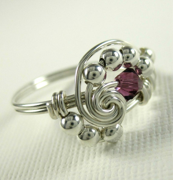 Personalized Birthstone Ring - Pi - Wire Wrapped Ring Swarovski Crystal and Sterling Silver - All Birthstones Available