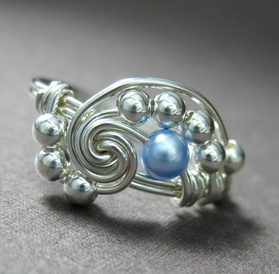 Pearl Pi -- Wire Wrapped Ring Powder Blue Swarovski Glass Pearl and Sterling Silver Pi Ring -- Other Colors Available