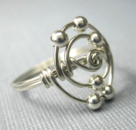 Personalized Atomic Elements Ring Carbon Atom Ring Wire Wrapped Sterling Silver Science Jewelry