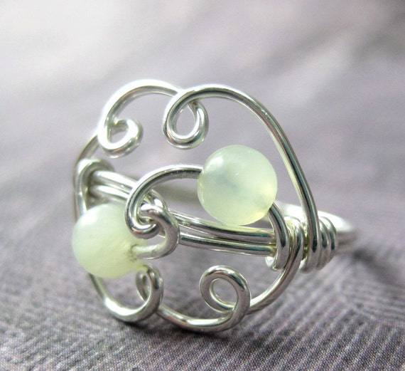 New Jade and Sterling Silver Wire Wrapped Cloud Ring