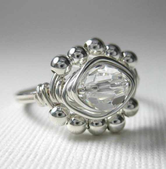 Clear Crystal Ring Wire Wrapped Sterling Silver Swarovski Crystal  Diamond Princess Bridal Cocktail