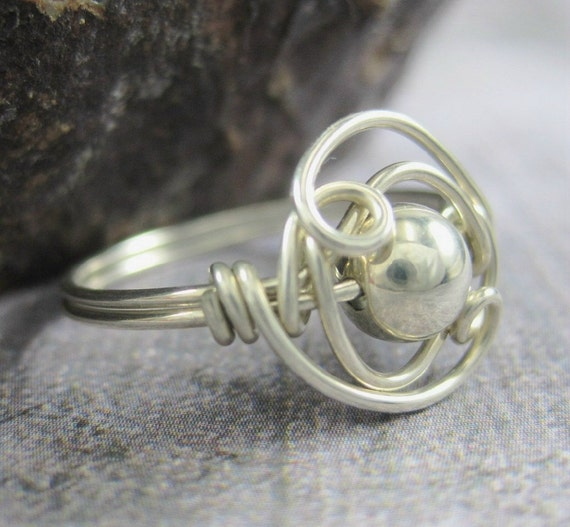 sterling silver double helix wire wrapped ring. Black Bedroom Furniture Sets. Home Design Ideas