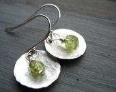 Peridot Earrings, Metalwork Peridot Hammered Silver Dome Handmade Earrings, Peridot Dangle DropEarrings