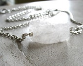 Crystal Necklace, Quartz Crystal Gemstone Statement Strand Chain Necklace , handmade ice stone chain necklace