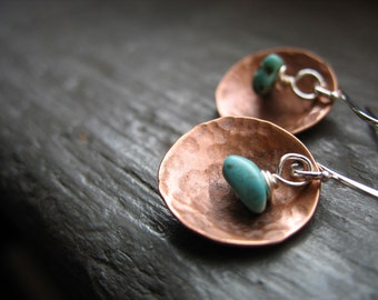 Turquoise Earrings, Copper Earrings, Turquoise Stone Hammered Copper Dome Dangle Drop Earrings, Handmade Metalwork Earrings
