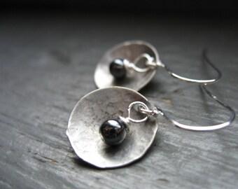 Hematite Earrings, Metalwork Earrings, Hematite Stone,  Hammered Silver Dome, Handmade Earrings, Dangle Earrings, Stone Earrings