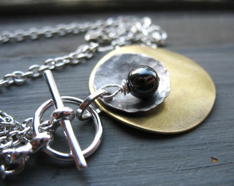 Hematite Gemstone Metalwork Necklace, Handmade Stone Pendant Chain Charm Pendant Gemstone Necklace