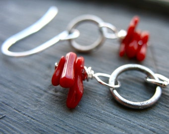 Coral Earrings, Red Coral Stone Oxidized Silver Hoop Dangle Drop Earrings, Handmade Red Coral Earrings, Coral Jewelry