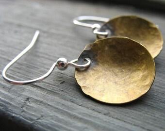 Dome Earrings, Handmade Brass Dome Full Circle Hammered Dangle Drop Earrings, Metalwork Earrings