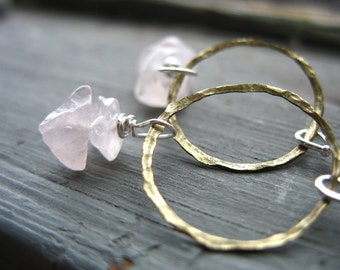 Rose Quartz Earrings, Rose Quartz Hoop Dangle Drop Earrings, Handmade Gemstone Earrings, Metalwork Earrings