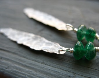 Aventurine Earrings, Green Aventurine Earrings, handmade stone dangle drop gemstone earrings, artisan jewelry