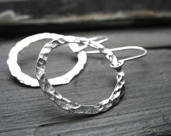 Silver Hammered Hoop Earrings, Handmade Artisan Metalwork Silver Hoop Earrings Jewelry