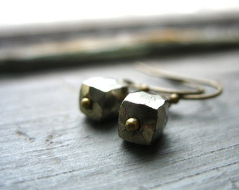 Pyrite Earrings, Pyrite Fools Gold Faceted Cube Stone Earrings, Pyrite Jewelry, Gemstone Earrings, Foolsgold Jewelry