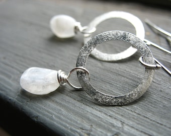 Moonstone earrings, Rainbow Moonstone Silver Hoop Earrings, Handmade Stone Earrings, Metalwork Earrings