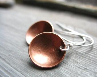Copper Earrings, Copper Dome Full Circle Dangle Handmade artisan Jewelry