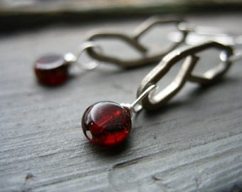 Garnet Earrings, Garnet Gemstone Earrings, Handmade Garnet Drop Dangle Earrings, Metalwork Oxidized Silver Earrings