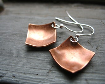 Copper earrings, Diamond Copper Dome Earrings, Handmade Copper Dangle Drop Earrings, Copper Jewelry