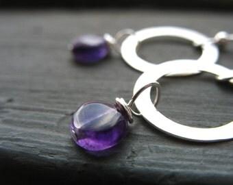 Amethyst Earrings, Amethyst Silver Hoop Earrings, Handmade Amethyst Stone Earrings, Metalwork Earrings