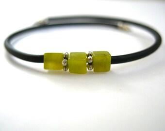 Serpentine Bracelet, Handmade Gemstone Cuff Bracelet, Lime Green Serpentine Stone Bounce Back Bracelet