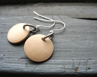 Wood Earrings, Maple Wood Earrings, Blond Maple Wood Dangle Drop Earrings, Handmade Wood Jewelry