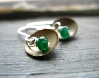 Green Aventurine Earrings, Metalwork Earrings, Emerald Green Aventurine Stone Dangle Drop Earrings, Aventurine Jewelry