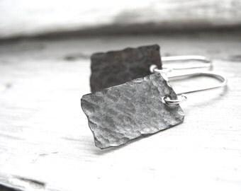 Silver Earrings, Handmade Artisan Metalwork Hammered Silver Earrings, Dangle Earrings, Silver Jewelry, Dangle Drop Silver Earrings
