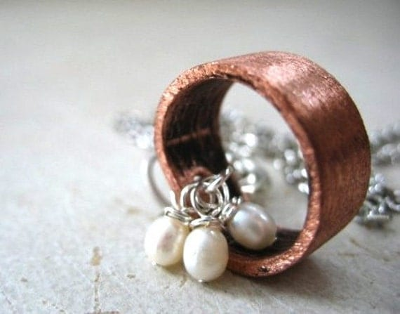 Pearl Necklace, Pearl Brushed Oxidized Copper Hoop Necklace, Handmade Pearl Metalwork Necklace Jewelry, FREE  Shipping