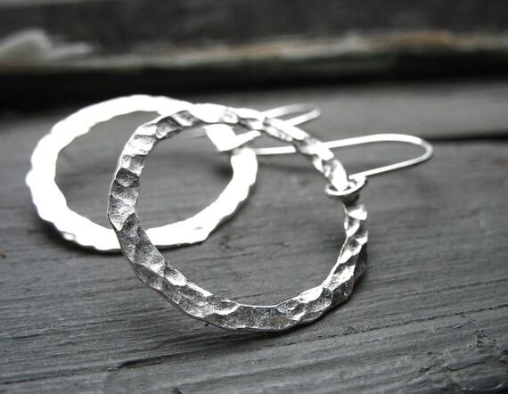Silver Hammered Hoop Earrings, Handmade Artisan Metalwork Silver Hoop Earrings Jewelry