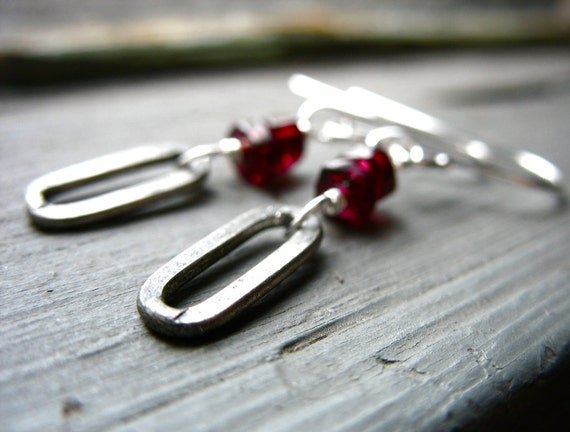 Garnet Earrings, Garnet Stone Oval Oxidized Silver Drop Earrings, Handmade Garnet Artisan Jewelry, FREE Shipping