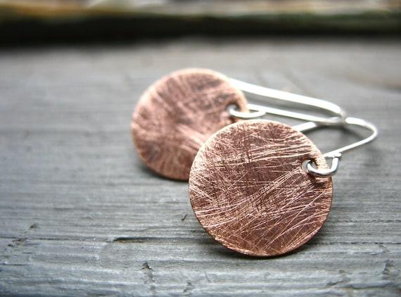 Copper Earrings, Handmade Earrings, Metalwork Copper Roughed Up Full Circle Dangle Drop Earrings, Handmade Jewelry, Copper Jewelry
