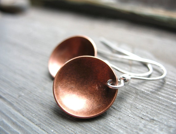 Copper Earrings, Copper Dome Full Circle Dangle Handmade artisan Jewelry