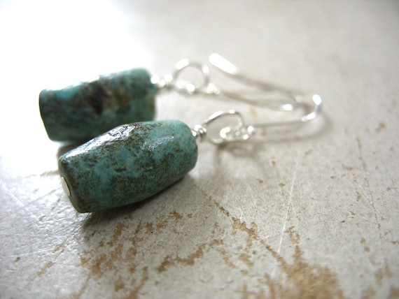 Turquoise Earrings, Turquoise Stone Cylinder Drop Earrings, Handmade Turquoise Stone Earrings Jewelry, FREE Shipping