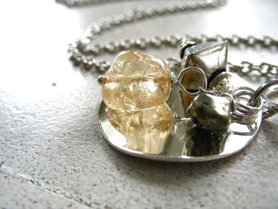 Citrine Necklace, Citrine Pyrite Stone Pendant Charm Chain Strand Metalwork Necklace, Citrine Jewelry, FREE Shipping
