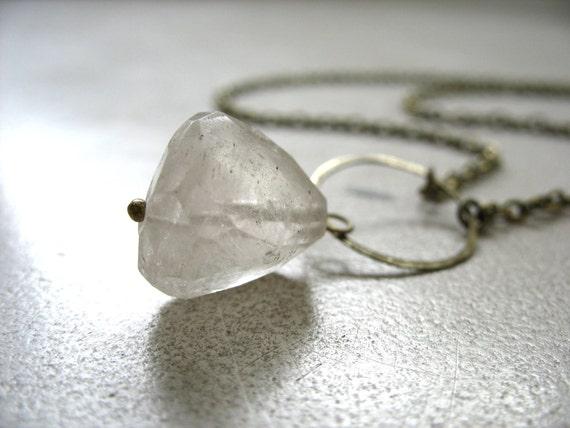 Rutilated Quartz Necklace, Rutilated Quartz Crystal Infinity Hoop Necklace, Handmade Stone Necklace, FREE Worldwide Shipping
