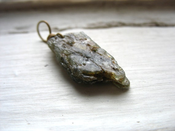 Green Kyanite Stone Pendant, Handmade Artisan Green Kyanite Stone Pendant Necklace, Green Kyanite Gemstone Jewelry, FREE Shipping