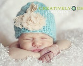 Knit Newborn Baby Girl hat with flower and bow Photography Prop