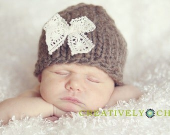 Knit Newborn Baby Hat with Lace Bow