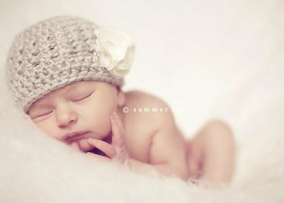 newborn baby girl hat with flower