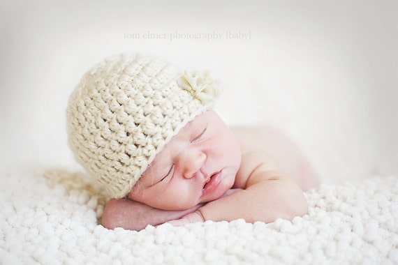 Newborn Baby Girl Hat with a Ruffle - Photography Prop