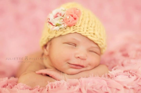Newborn Baby Girl Hat with Flower Photography Prop