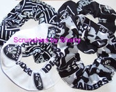 Oakland Raiders Fabric Hair Scrunchie Scrunchies by Sherry Black White Cotton Duck Cloth Camo  NFL Football