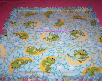 Frogs Sitting on the Moon and Stars Double Fleece Turquiose Baby Pet Dog Blanket