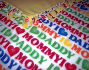 I Love Mommy I Love Daddy Baby Toddler Double Golden Yellow Fleece Throw Blanket Crib